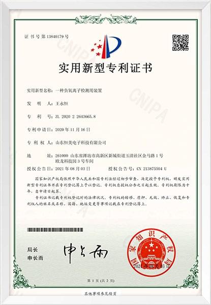 负氧离子检测用装置新型专利证书